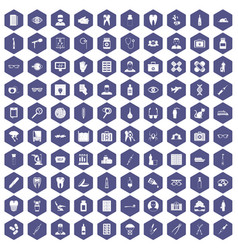 100 doctor icons hexagon purple vector
