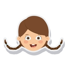Head little girl smiling isolated vector