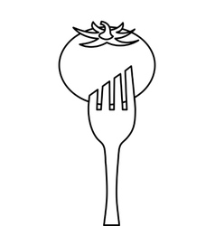 Fork with vegetable icon vector