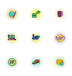 Hacker icons set pop-art style vector
