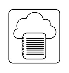 Figure cloud notebook network icon vector