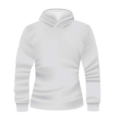 White hoodie front view mockup realistic style vector