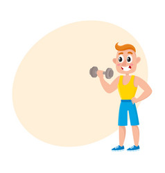 Young man training biceps with dumbbell vector