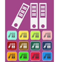 Archive binder icon with color variations vector