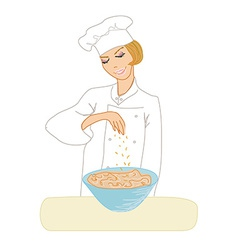 Chef woman cooking soup vector