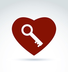 Red heart with a key isolated on white background vector