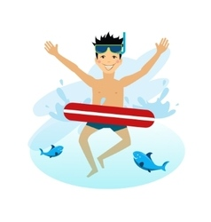 Boy swimming with inflatable circle vector