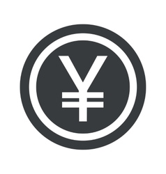 Round black yen sign vector