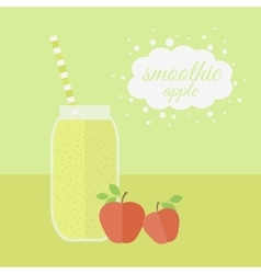 Apple smoothie in jar on a table vector