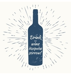 Bottle of wine and vintage sun burst frame wine vector