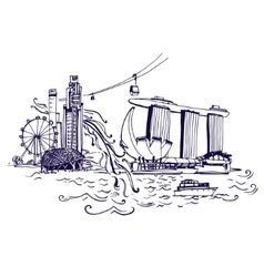Singapore city skyline at Marina Bay vector image
