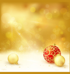 Golden christmas design baubles light vector
