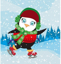 Funny ice skating penguin vector