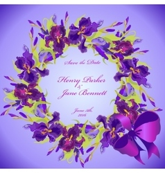 Wedding card with violet iris flower wreath vector