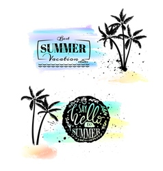 Set with watercolor emblems with splashes and palm vector