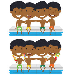 african american boys sit at the edge of the pool vector image vector image