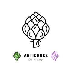 artichoke icon vegetables logo thin line vector image vector image