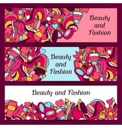 Beauty and fashion banners design with cosmetic vector
