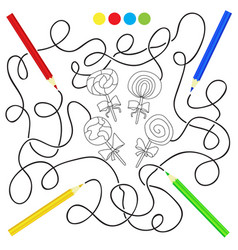 black and white cartoon candy lollipop - puzzle vector image vector image