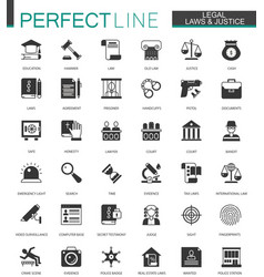 Black classic legal law and justice icons set vector