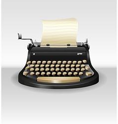 Black retro typwriter with paper vector