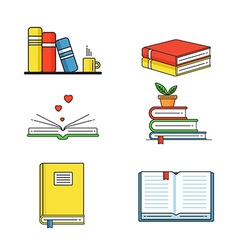 Books set in line design trend style open book and vector