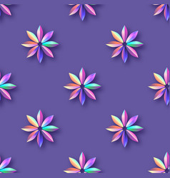 bright violet holographic flowers seamless pattern vector image vector image