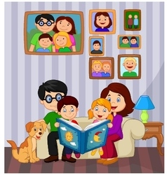 Cartoon read a story book in the living room vector image