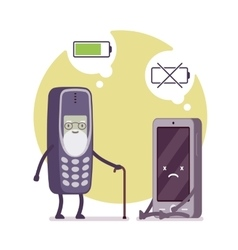 Charged phone and dead smartphone vector