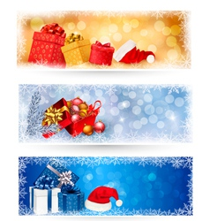 christmas banners with gift boxes vector image vector image