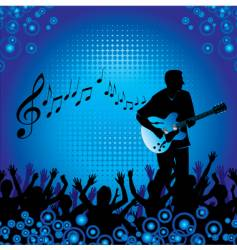 circles crowd hands guitar vector image vector image