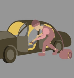 cleaning car interior worker vector image vector image
