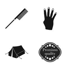 comb fingers and other web icon in black style vector image