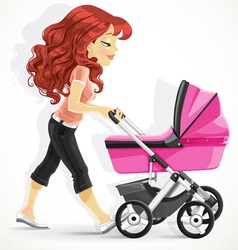 Cute mother with a pink pram on walk vector image vector image