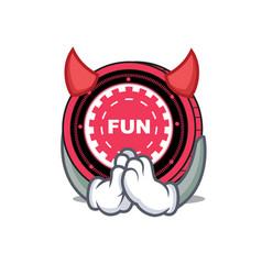 Devil funfair coin mascot cartoon vector