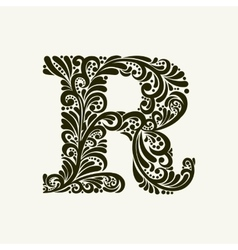Elegant capital letter r in the style baroque vector
