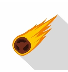 Flame meteorite icon flat style vector