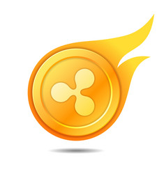 Flaming ripple coin symbol icon sign emblem vector