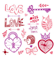 Happy valentines day cute doodle collection with vector