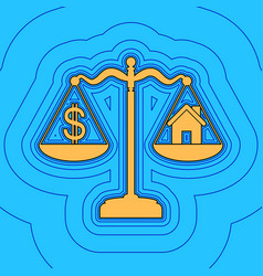 House and dollar symbol on scales sand vector