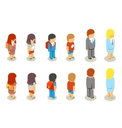Isometric flat 3d school students and teacher vector image