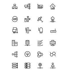 Network and sharing outline icons 3 vector