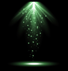 Rays of light from above green color vector