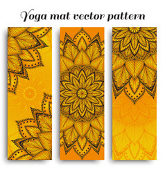 Set of sunny yoga mat pattern vector