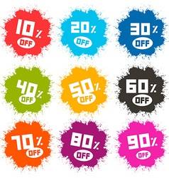 Splash Discount Labels Set Isolated on White vector image vector image
