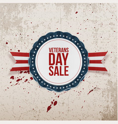 Veterans day sale greeting emblem and ribbon vector