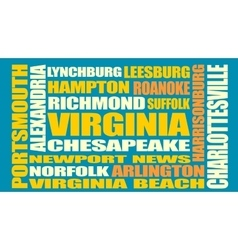 Virginia state cities list vector image vector image