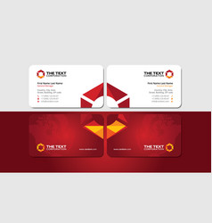 Visiting card with vivid triangular hexagon vector