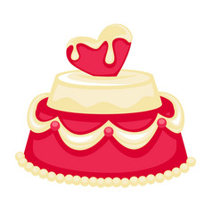 wedding cake with pink heart bridal decor vector image vector image