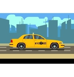 Yellow car taxi cab in cityscape vector